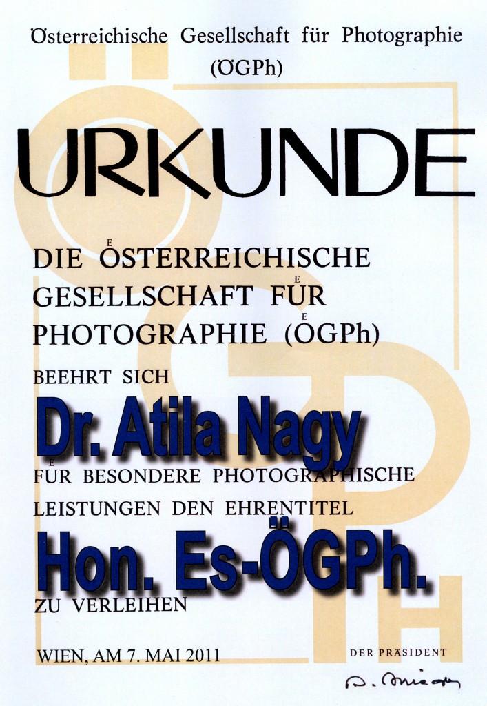Hon Es ÖGPH, az Osztrák Fotóművészeti Szövetség kitüntetése